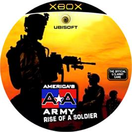Artwork on the CD for America's Army: Rise of a Soldier on the Microsoft Xbox.