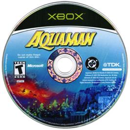 Artwork on the CD for Aquaman: Battle for Atlantis on the Microsoft Xbox.