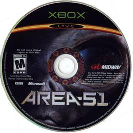 Artwork on the CD for Area 51 on the Microsoft Xbox.