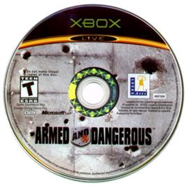 Artwork on the CD for Armed and Dangerous on the Microsoft Xbox.