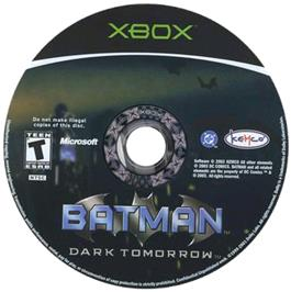 Artwork on the CD for Batman: Dark Tomorrow on the Microsoft Xbox.