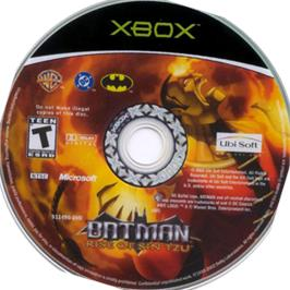 Artwork on the CD for Batman: Rise of Sin Tzu on the Microsoft Xbox.