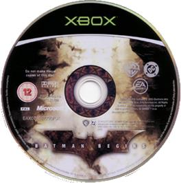 Artwork on the CD for Batman Begins on the Microsoft Xbox.