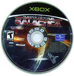 Artwork on the CD for Battlestar Galactica on the Microsoft Xbox.