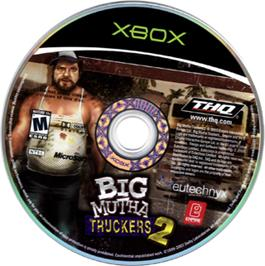 Artwork on the CD for Big Mutha Truckers 2: Truck Me Harder on the Microsoft Xbox.