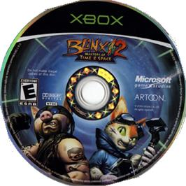 Artwork on the CD for Blinx 2: Masters of Time and Space on the Microsoft Xbox.