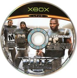 Artwork on the CD for Blitz: The League on the Microsoft Xbox.