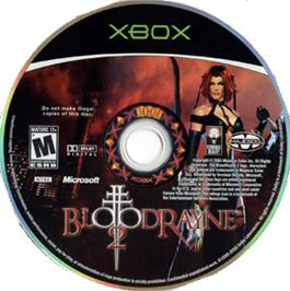 Artwork on the CD for BloodRayne 2 on the Microsoft Xbox.