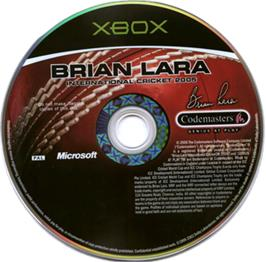 Artwork on the CD for Brian Lara International Cricket 2005 on the Microsoft Xbox.