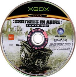Artwork on the CD for Brothers in Arms: Earned in Blood on the Microsoft Xbox.