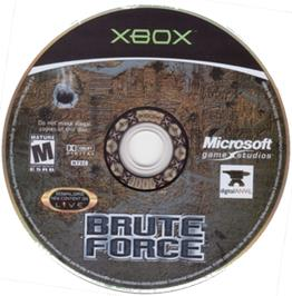Artwork on the CD for Brute Force on the Microsoft Xbox.