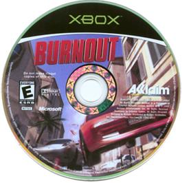 Artwork on the CD for Burnout on the Microsoft Xbox.