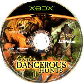Artwork on the CD for Cabela's Dangerous Hunts on the Microsoft Xbox.