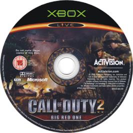Artwork on the CD for Call of Duty 2: Big Red One on the Microsoft Xbox.