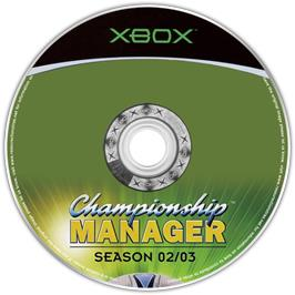 Artwork on the CD for Championship Manager: Season 02/03 on the Microsoft Xbox.