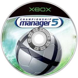 Artwork on the CD for Championship Manager 5 on the Microsoft Xbox.