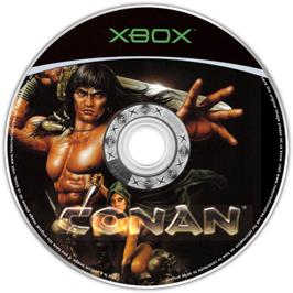 Artwork on the CD for Conan on the Microsoft Xbox.