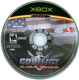 Artwork on the CD for Conflict: Global Terror on the Microsoft Xbox.
