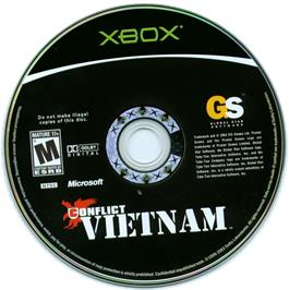 Artwork on the CD for Conflict: Vietnam on the Microsoft Xbox.