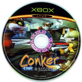 Artwork on the CD for Conker: Live & Reloaded on the Microsoft Xbox.