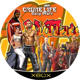 Artwork on the CD for Crime Life: Gang Wars on the Microsoft Xbox.