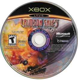 Artwork on the CD for Crimson Skies: High Road to Revenge on the Microsoft Xbox.