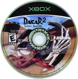 Artwork on the CD for Dakar 2: The World's Ultimate Rally on the Microsoft Xbox.