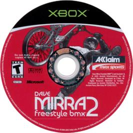 Artwork on the CD for Dave Mirra Freestyle BMX 2 on the Microsoft Xbox.