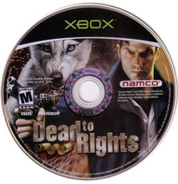Artwork on the CD for Dead to Rights on the Microsoft Xbox.