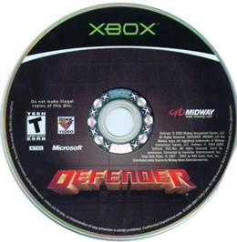 Artwork on the CD for Defender on the Microsoft Xbox.