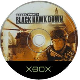 Artwork on the CD for Delta Force: Black Hawk Down on the Microsoft Xbox.