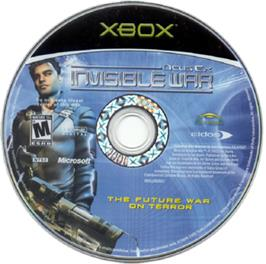Artwork on the CD for Deus Ex: Invisible War on the Microsoft Xbox.