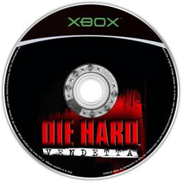 Artwork on the CD for Die Hard: Vendetta on the Microsoft Xbox.