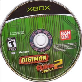 Artwork on the CD for Digimon Rumble Arena 2 on the Microsoft Xbox.