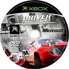 Artwork on the CD for Driver: Parallel Lines on the Microsoft Xbox.