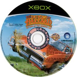 Artwork on the CD for Dukes of Hazzard: Return of the General Lee on the Microsoft Xbox.