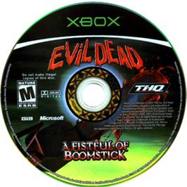 Artwork on the CD for Evil Dead: A Fistful of Boomstick on the Microsoft Xbox.