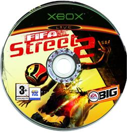 Artwork on the CD for FIFA Street 2 on the Microsoft Xbox.