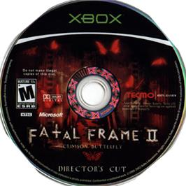 Artwork on the CD for Fatal Frame II: Crimson Butterfly on the Microsoft Xbox.
