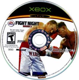 Artwork on the CD for Fight Night Round 3 on the Microsoft Xbox.