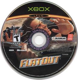 Artwork on the CD for FlatOut on the Microsoft Xbox.