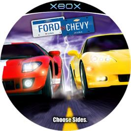 Artwork on the CD for Ford Vs. Chevy on the Microsoft Xbox.