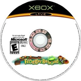 Artwork on the CD for Frogger Beyond on the Microsoft Xbox.