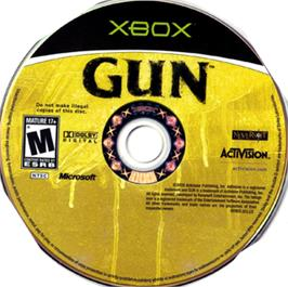 Artwork on the CD for GUN on the Microsoft Xbox.