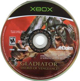 Artwork on the CD for Gladiator: Sword of Vengeance on the Microsoft Xbox.