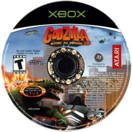 Artwork on the CD for Godzilla: Destroy All Monsters Melee on the Microsoft Xbox.