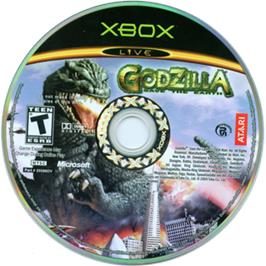 Artwork on the CD for Godzilla: Save the Earth on the Microsoft Xbox.