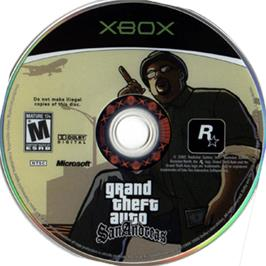 Artwork on the CD for Grand Theft Auto: San Andreas on the Microsoft Xbox.