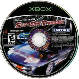 Artwork on the CD for GrooveRider:  Slot Car Thunder on the Microsoft Xbox.