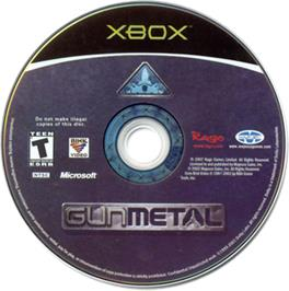 Artwork on the CD for Gun Metal on the Microsoft Xbox.
